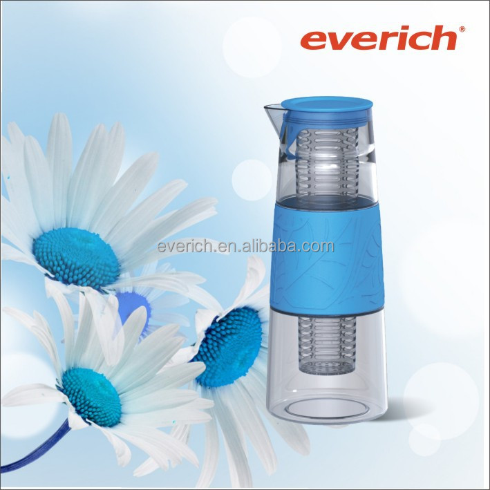 1L big capacity wholesale pitcher with plastic lid and fruit infuser