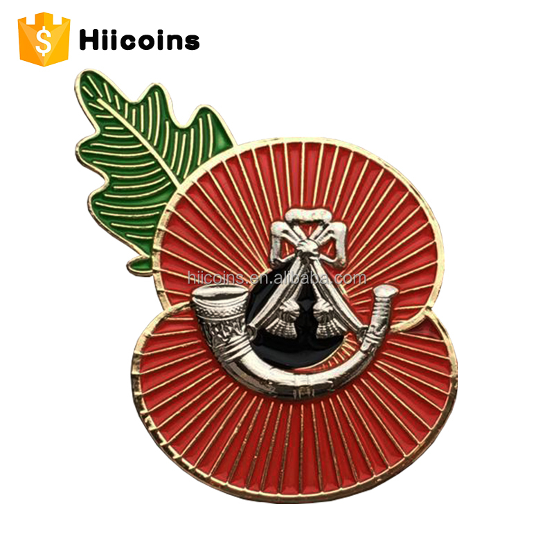 2 Slices Poppy Badge Custom Pin Metal Enamel Lapel Pin Making