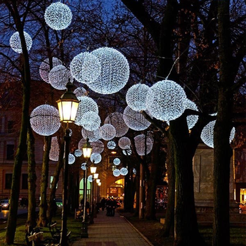 Outdoor Christmas Lighted Sheres Led Decoration Street Hanging Holiday Sphere Lights Decorating