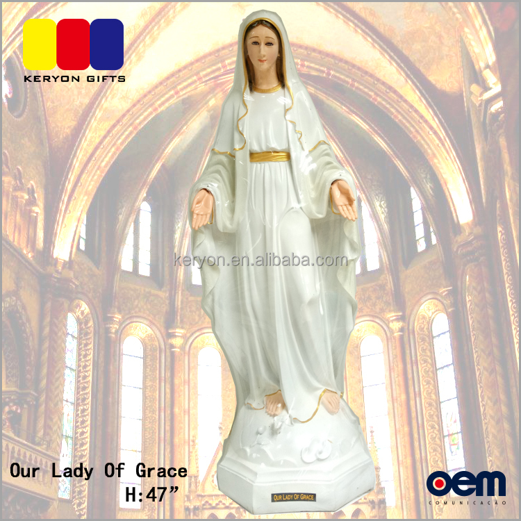 Hand Made Our Lady of Grace polyresin big statue