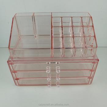 Pink Acrylic Makeup Organizer Cube With 3 Drawers Kim Kardashian Makeup Acrylic Organizer Buy Pink Acrylic Makeup Organizer Kim Kardashian