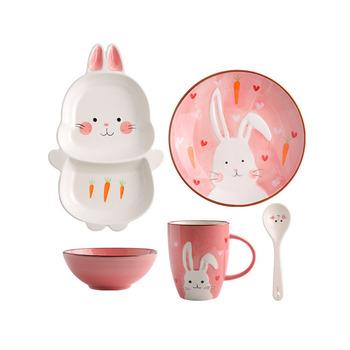 Zogift Creative Kids Cute Animal Print Dinnerware Children Ceramic Dinner Bowl Divided Plate And Spoon Sets Set