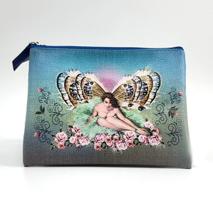 Women Makeup Organizer Pouches PU Leather Travel Toiletry Bags Digital Printing Vintage Cosmetic Pouch