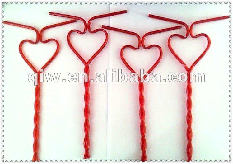 Heart Shaped Drinking Straw For 2 Person Drinking