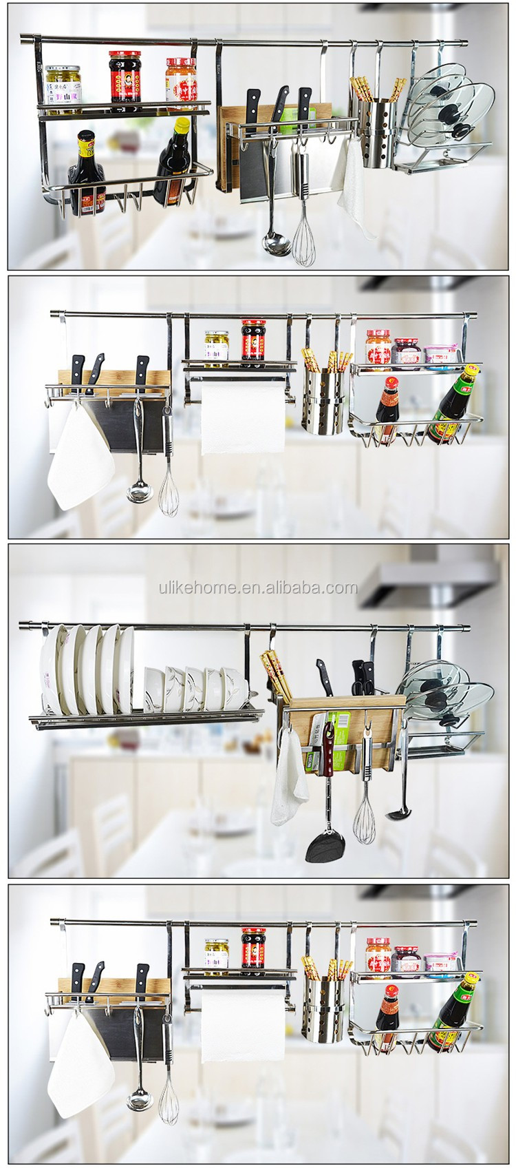 Stainless Steel Kitchen Utensil Rack Wall Mounted Metal Spice Rack Kitchen  Hanging Spice Rack