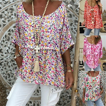 Womens O Neck Casual Linen Cotton Blouses Shirts 3/4 Sleeve Floral Tunic Tops Coldker