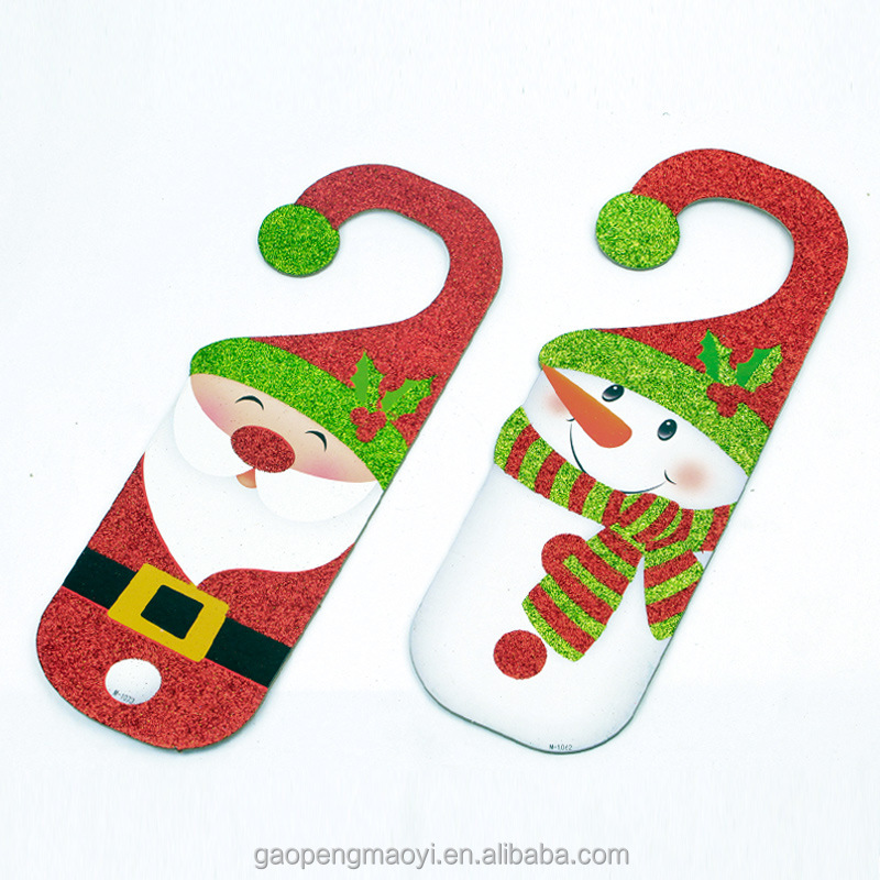 Christmas door hanging Hotels bars school company Xmas ornaments door handle Santa snowman pattern pendant Christmas products