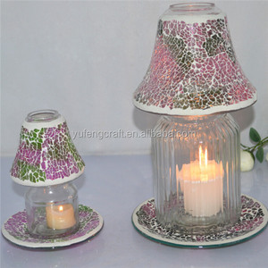 small mosaic candle shade and big mosaic shade and candle plate