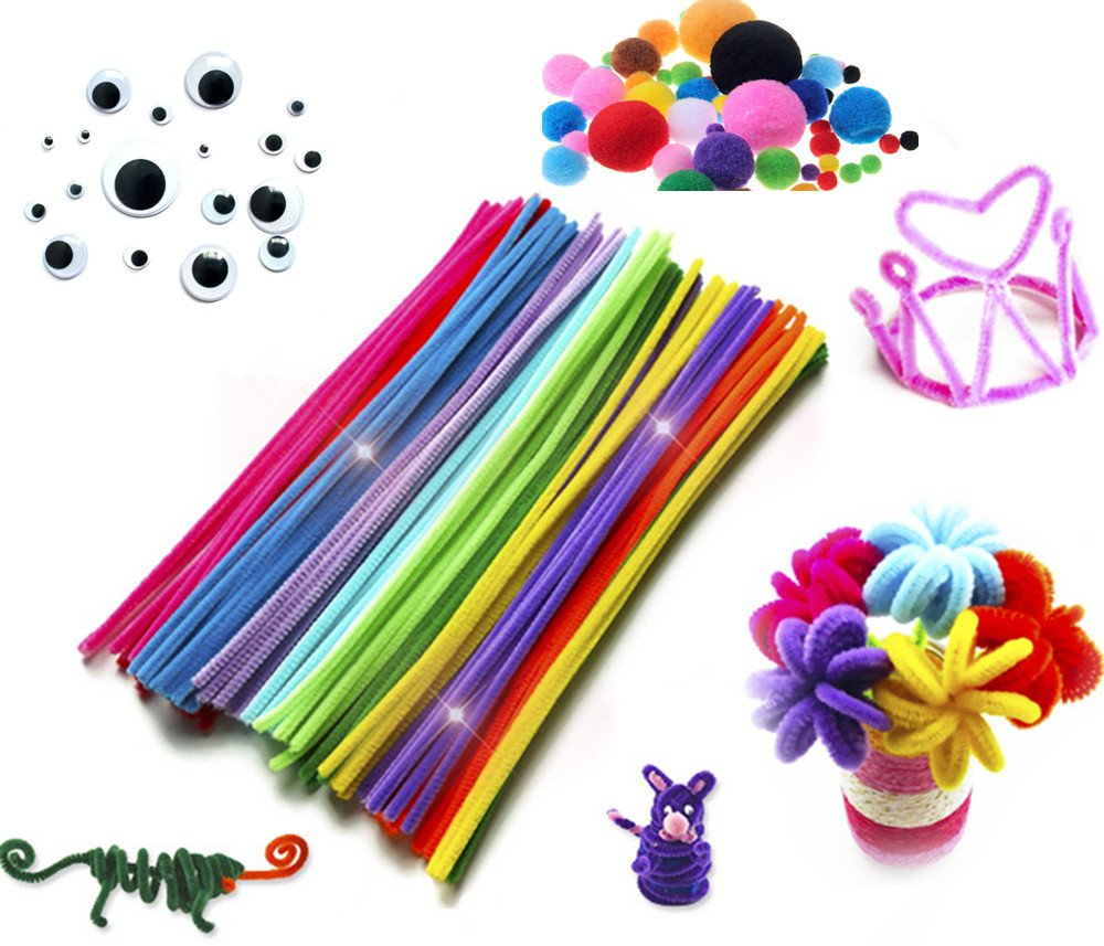 Assorted Colors Pipe Cleaners Chenille Sticks Stem DIY Art Craft Supplies Set Including 100 Pieces Pipe Cleaners,250 Pieces Pom Poms and 150 Pieces Wiggle Googly Eyes (500 pcs)