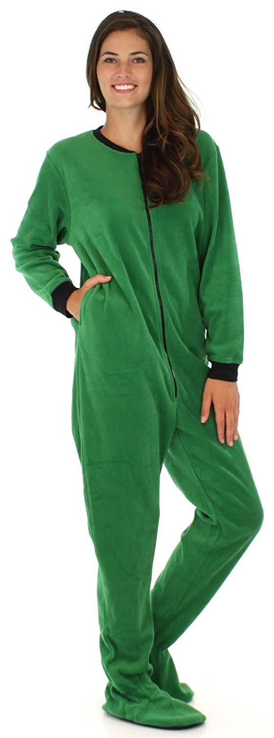 d36a380b66 Get Quotations · PajamaMania Women s Adult Fleece Footed Onesie Pajama  Jumpsuit
