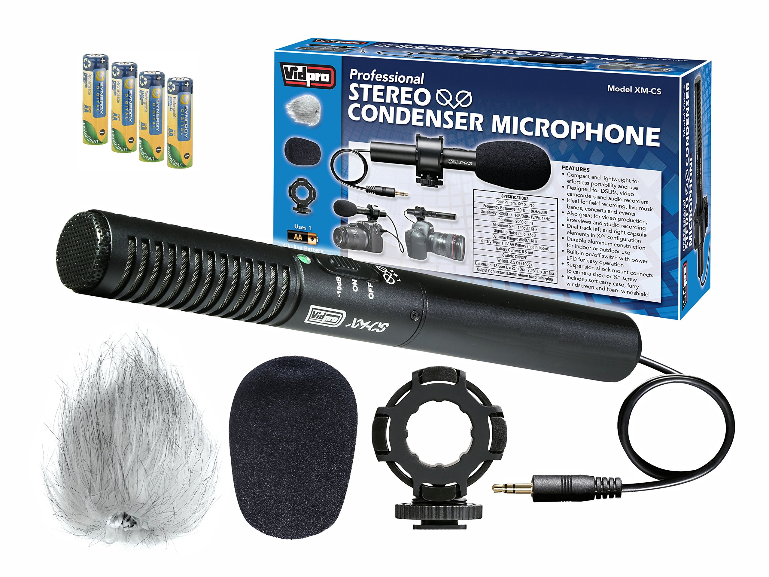 Canon XH-A1 Camcorder External Microphone Vidpro XM-CS Condenser Stereo XY Microphone Kit for DSLR's, video camcorders and audio recorders - With a Pack of 4 AA NiMH Rechargable Batteries - 2800mAh