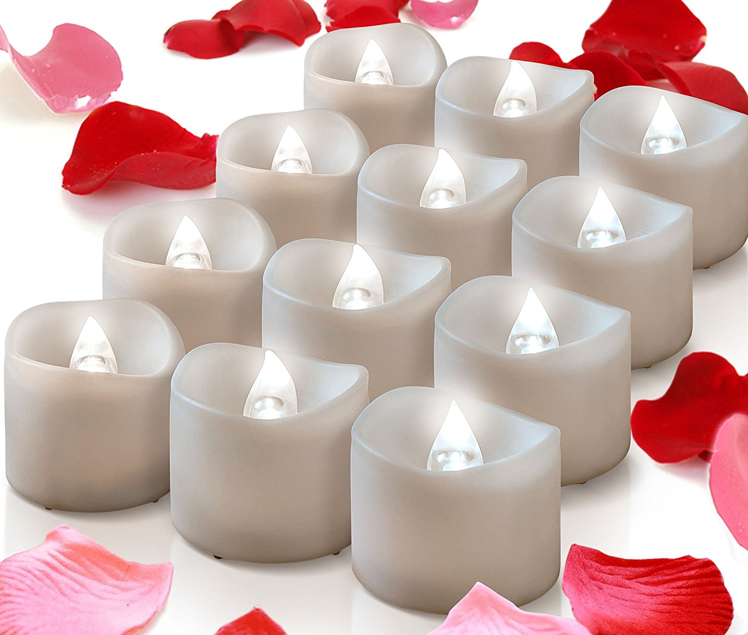 Buy Mars Flameless Candles 12 White Bright Battery Operated Tea Lights Romantic Unscented Fake Rose Petals Bulk For Votives Tealight Holders Fall Decor Valentines Day Halloween Christmas Decor In Cheap