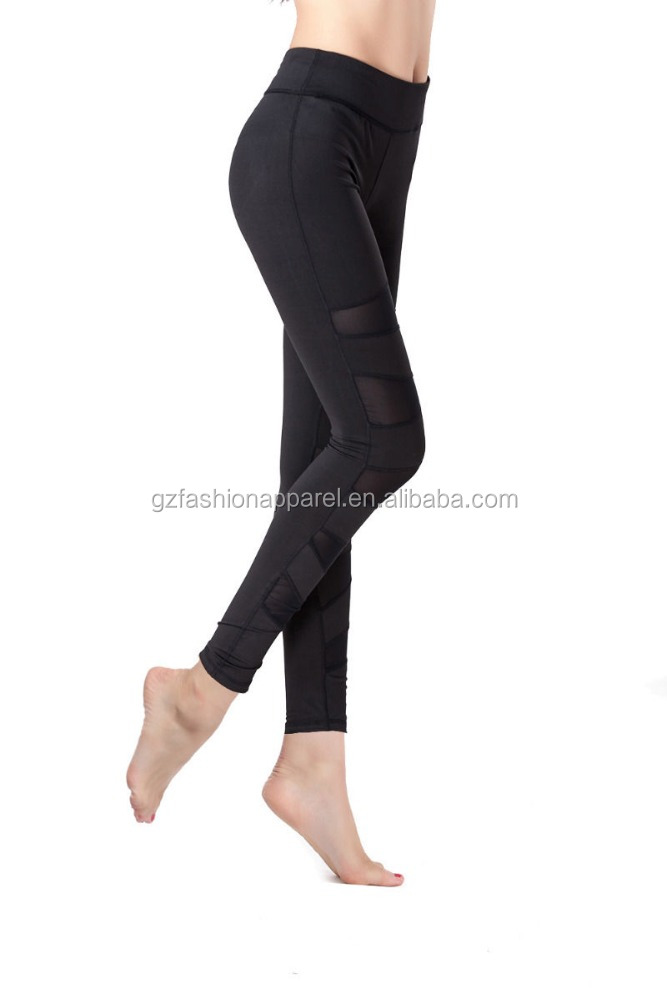 2016 mesh women blank yoga pants dry fit fitness clothing guangzhou oem factory