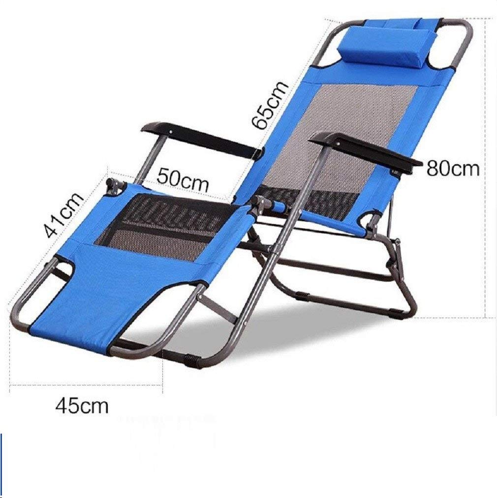 ZLJTYN Folding Sun Lounger Lounge Chair Folding Lunch Break Summer Balcony Cool Chair Office Multifunctional Nap Bed Outdoor Leisure Beach Chair, C, 1 PACK