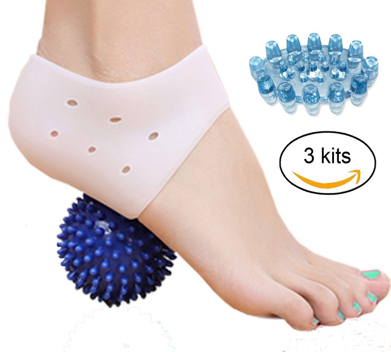 Gritech Plantar Fasciitis Kit- Heel Pain Gel Pads Inserts Plantar Fasciitis Treatment Sore Feet Bruised Foot Bone Spurs Relief, Foot Massage Ball, Foot massager for Metatarsal Pain