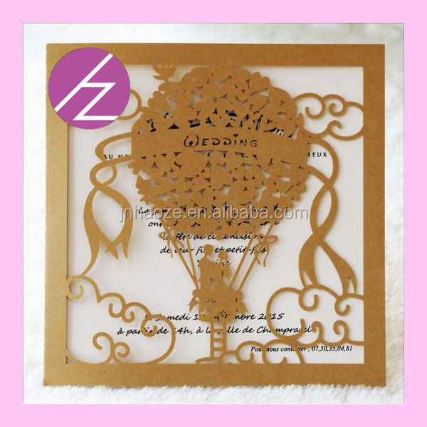 Romantic Love Balloon New Design Happy Couple Wedding Invitation ...