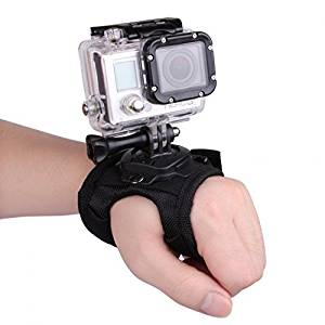 Kingzer 360 Degree Rotation Glove-style Band Mount Palm Strap Accessories for GoPro Hero 4/3+/3/2/1 Camera