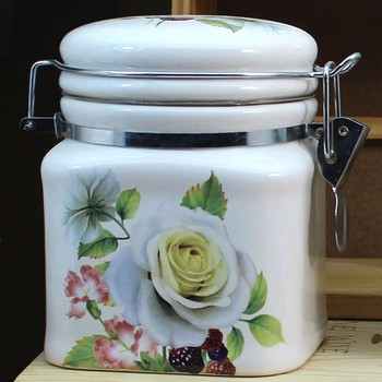 Flower Design White Tea Coffee Sugar Small Ceramic Air Storage Jars