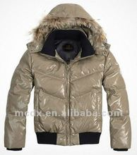 SHINY duck down jacket men with fur hood