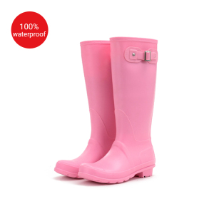 Bright warm stylish women PVC rain boots ladies' steady-heeled wellies with a buckle wellington gum boots