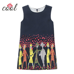 fashion girls frocks black colour cartoon printed girls dress 2018 children summer