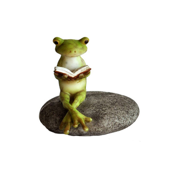 Stone Garden Ornaments Frog Resin Frogs Statue Reading A Book