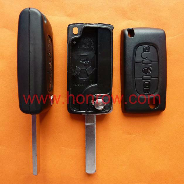 Peugeot 307 blade 3 button flip remote key shell with light button ( VA2 Blade - 3Button - Light - No battery place)