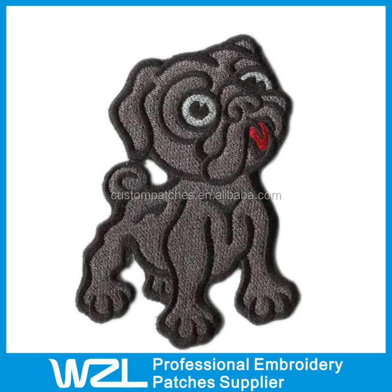 Cheap Embroidered Happy Dog Badge for Baby and Children Clothes