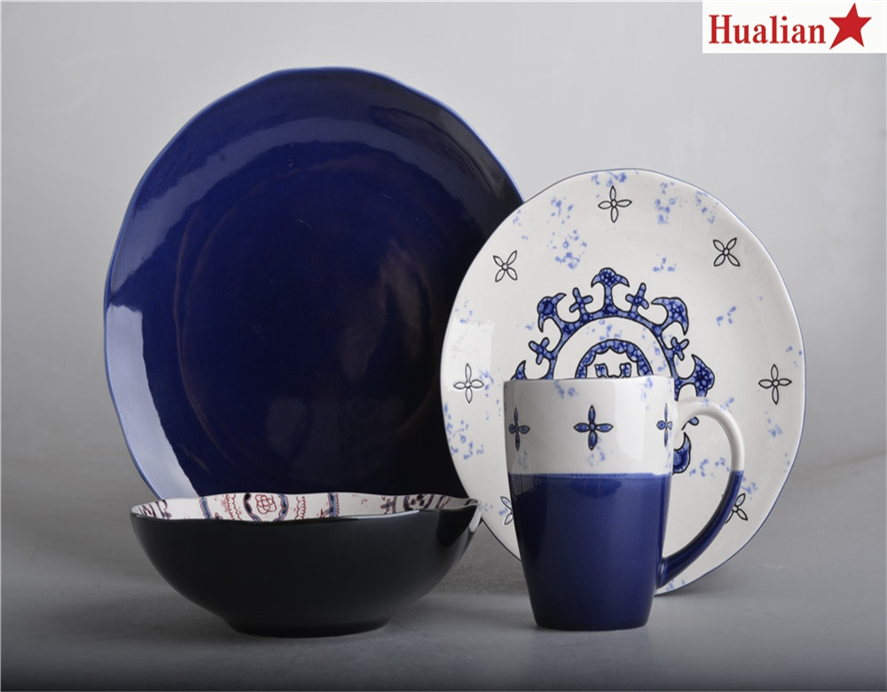 16 pcs blue and white hand painted cooking ware