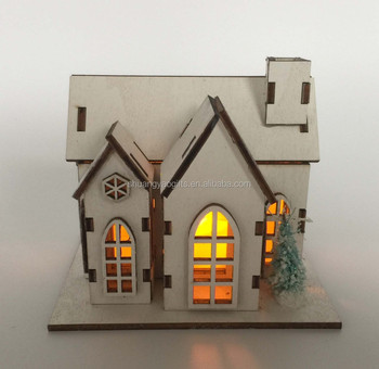 Cheap laser cutting Wooden christmas LED decoration house gifts
