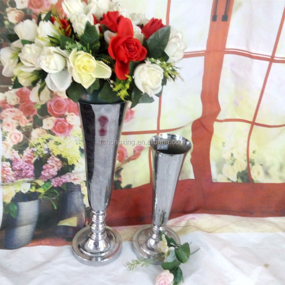 wholesale gold / silver metal flower stand for wedding & party table centerpiece decoration, trumpet vase
