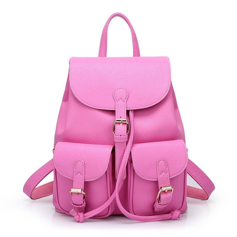 60236ffe9432 Get Quotations · 2015 Fashion Red Leather Genuine Women Backpack Female  School Brands Swissgear Cute Book Bags Pink School