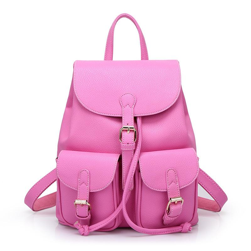 Get Quotations · 2015 Fashion Red Leather Genuine Women Backpack Female  School Brands Swissgear Cute Book Bags Pink School a0eafa57e4