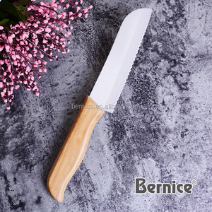 Serrated Bread Slicer Knife Ceramic White Blade for cutting tomatoes