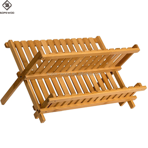 Hot Sale 2 Tier Folding Bamboo Dish Drying Rack