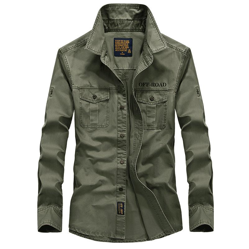 Compra estilo militar camisas de los hombres online al por
