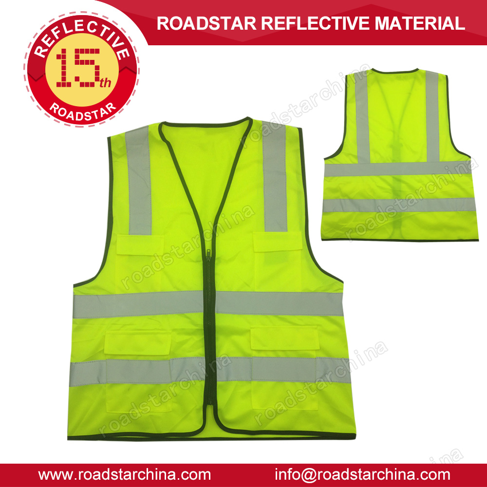 Fluorescent yellow reflective safety zipper vest