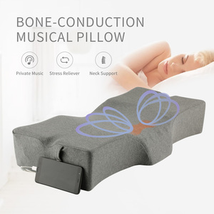 New Neck Massage Musical Head Support Sound Pillow Soft Bone Conduction Music Cervical Contour Memory Foam Pillow