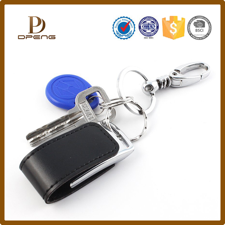 Top selling USB Flash Drives case leather usb cover with key chain