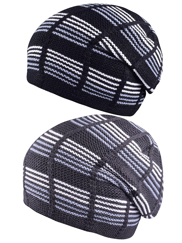 PZLE Slouchy Knit Cap Warm Stocking Hats Winter Ski Caps Beanie Hat For Women Mens