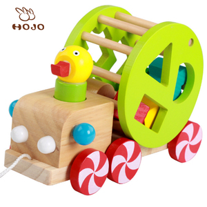 Children wooden toy pull and push toy and funny wooden push back car toy