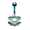 316L Surgical Steel Rose Gold Plated Navel Ring Shell with Pearl Ocean Belly Ring