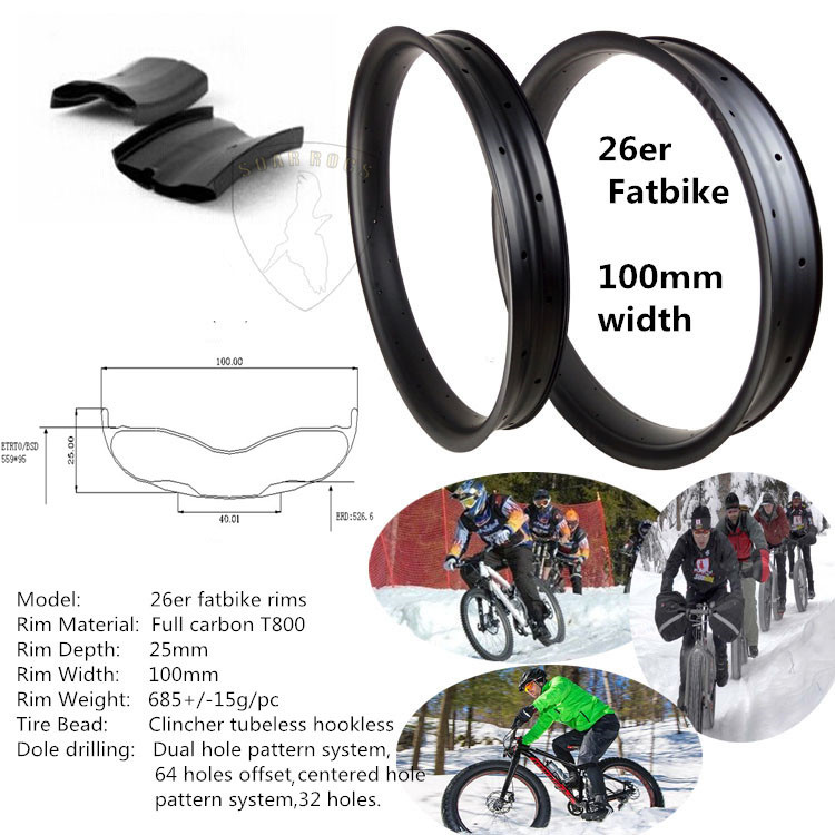 mountain bike rims 26inch Soarrocs carbon T800 fat bike 25mm clincher tubeless 100mm width Fat Bike carbon Rims
