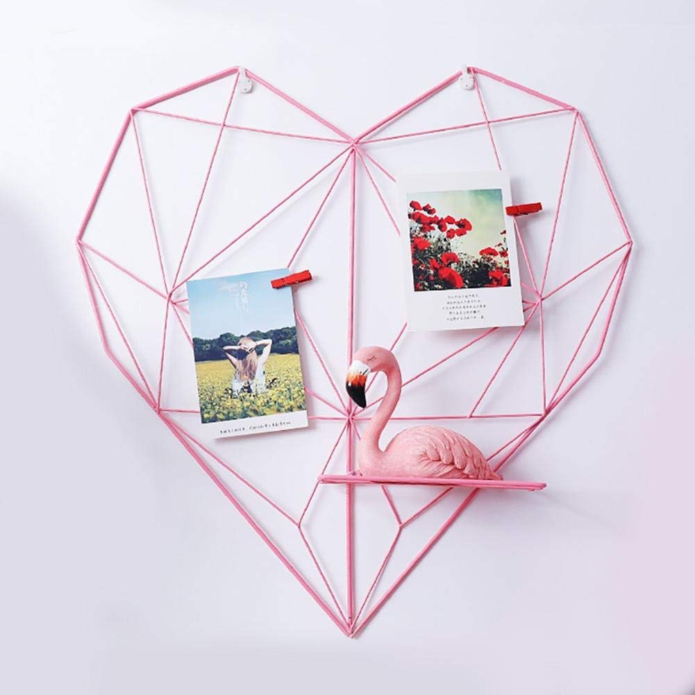 Shine-U Grid Photo Wall, Multifunctional Grid Panel Decorative Iron Heart-Shaped Rack for Photo Hanging Display & Wall Decoration