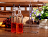 Glass oil & vinegar bottle for kitchen with metal stand new product made in China