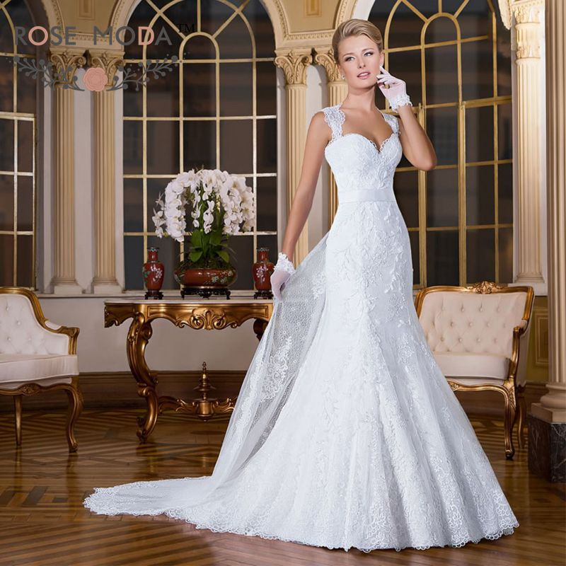 Beaded Wedding Dress With Detachable Train: Removable Cap Sleeves Lace Mermaid Wedding Dress With