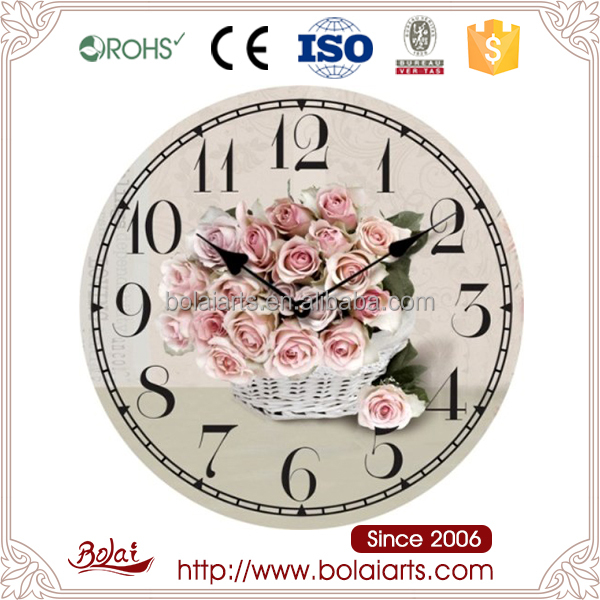 Beautiful white basket roses design round shabby chic wooden wall clock