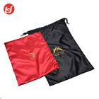 Various colorful recyclable packing satin drawstring bag for sale
