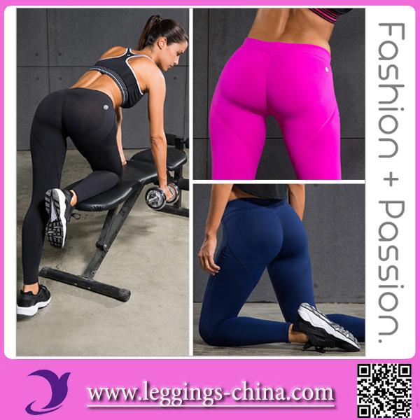 2017 High Quality With 4Needle 6Thread Sexy High Waist Hips Push Up Shape Peach Yoga Fitness Leggings Women Tights