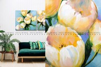 Handpainted flower oil painting images of handmade wall hanging